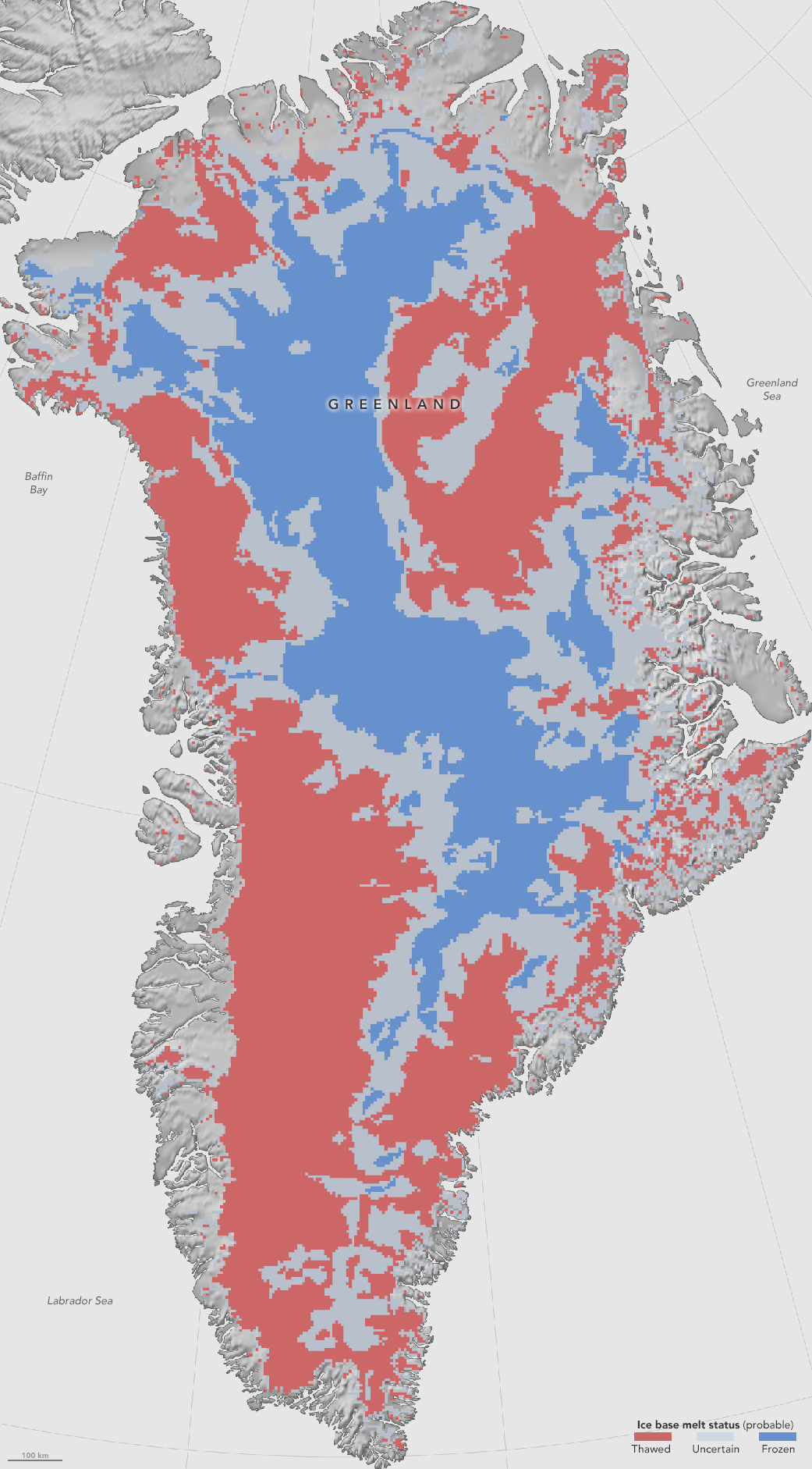 This first-of-a-kind map, showing which parts of the bottom of the Greenland Ice Sheet are likely thawed (red), frozen (blue) or still uncertain (gray), will help scientists better predict how the ice will flow in a warming climate. Image credit: NASA Earth Observatory/Jesse Allen.