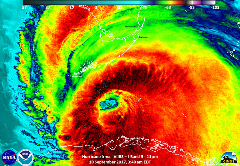 Infrared satellite image of Irma with well-defined eye