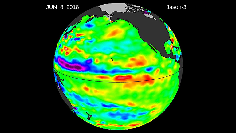 Latest image from OSTM/Jason-2's successor satellite, the U.S./European Jason-3, showing sea surface height with respect to the seasonal cycle and the long-term trend.