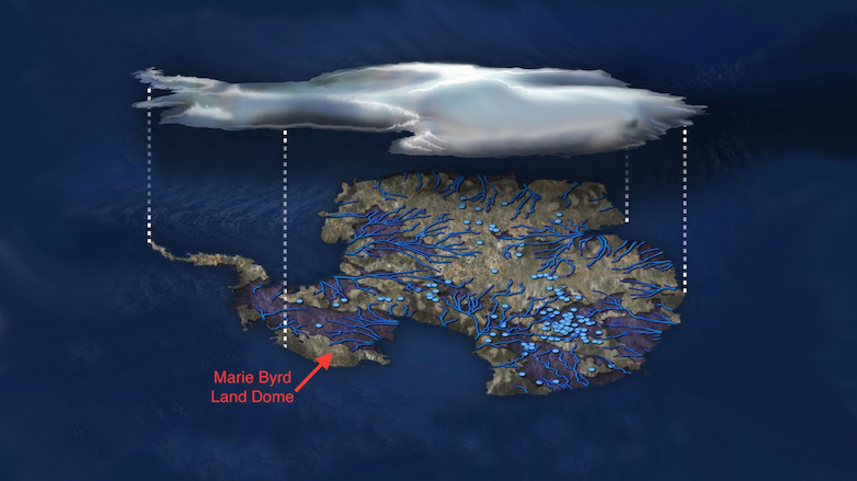 Illustration of lakes and waterways beneath Antarctic ice.