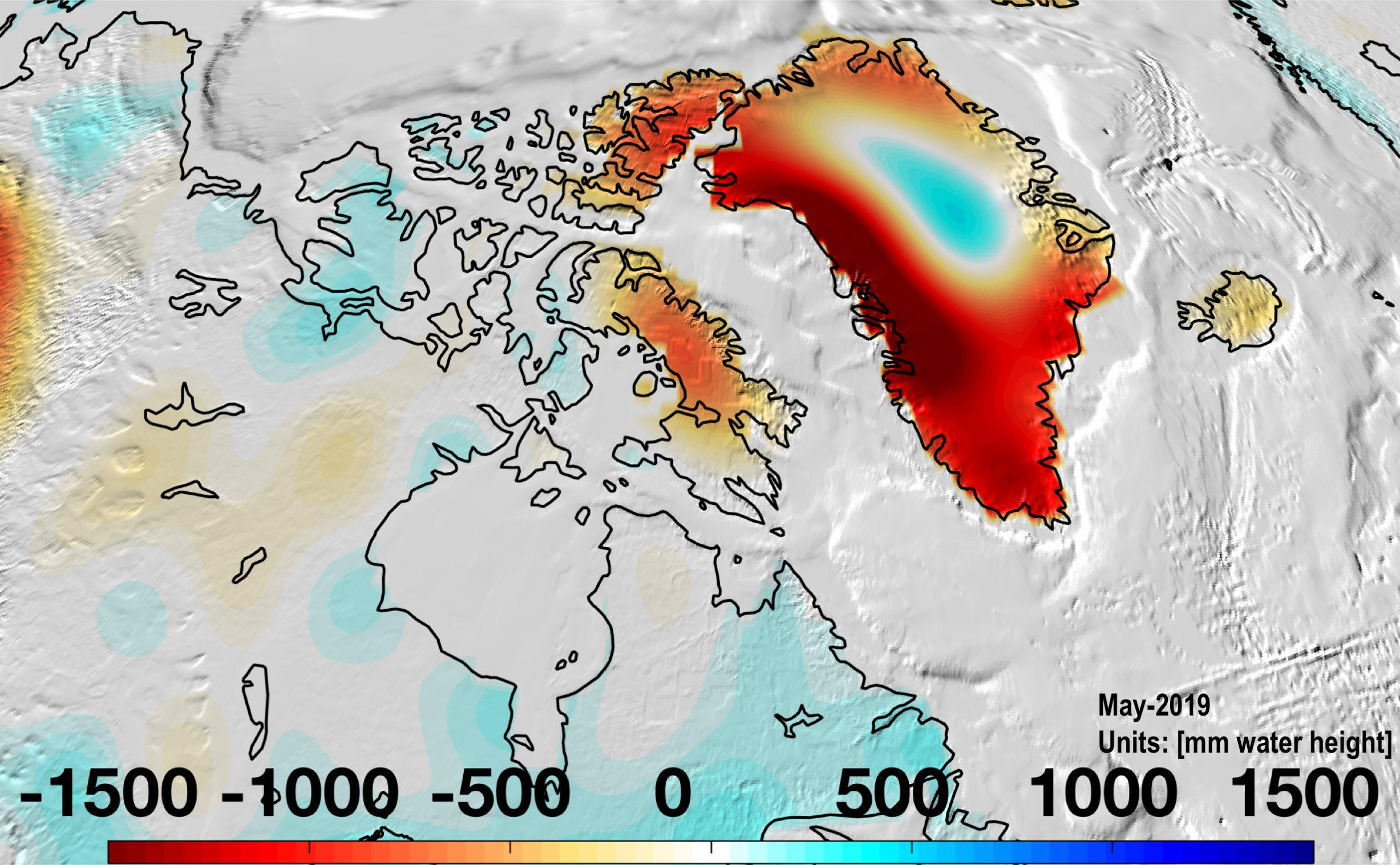 Almost all of Greenland continued to lose mass in May 2019 as the ice sheet continues to melt.