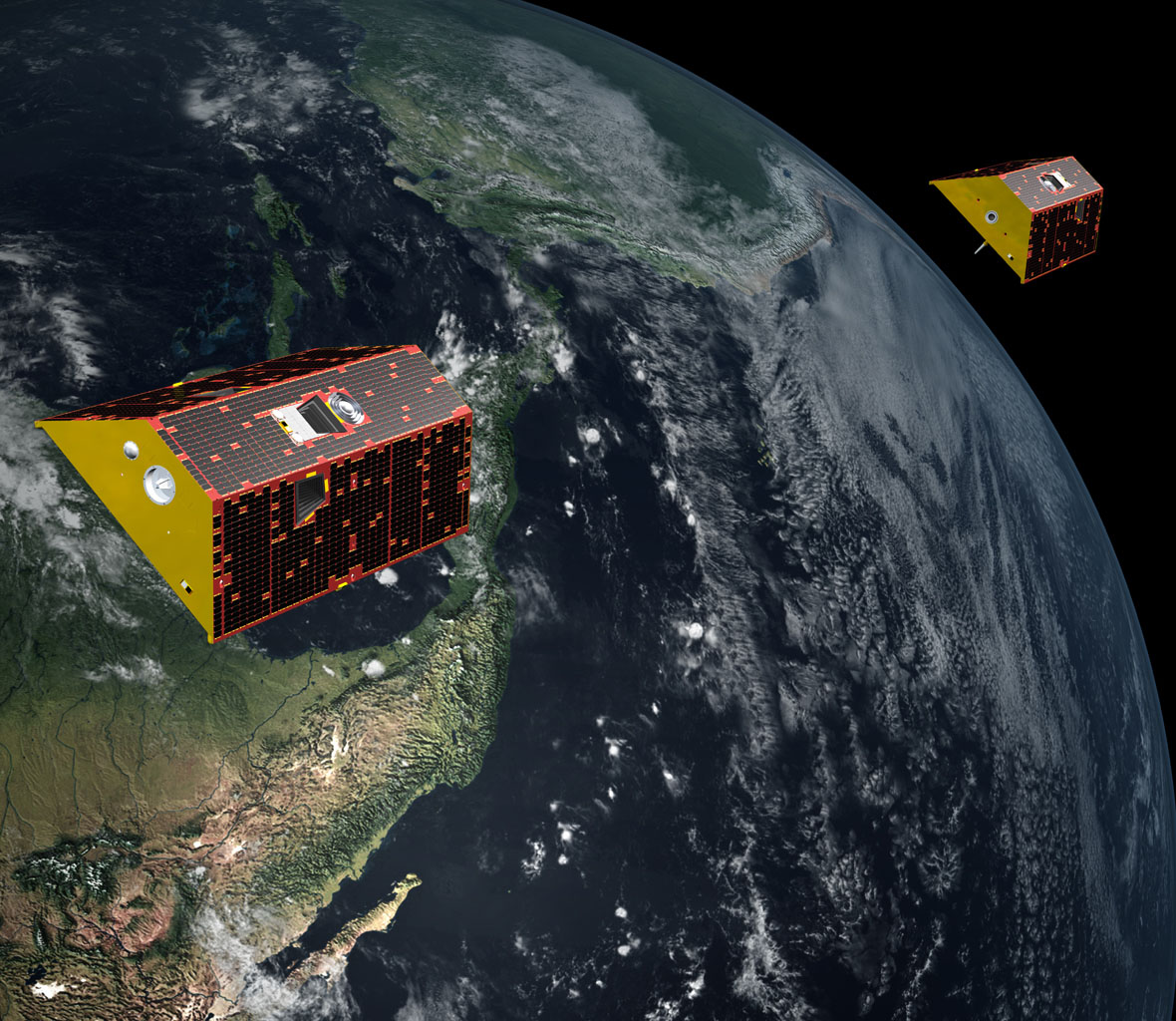 Illustration of the twin GRACE-FO spacecraft orbiting Earth.