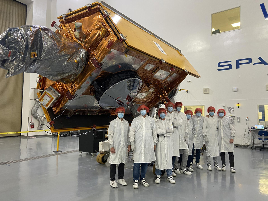 The Sentinel-6 Michael Freilich satellite undergoes final preparations in a clean room at Vandenberg Air Force Base in California for an early November launch.