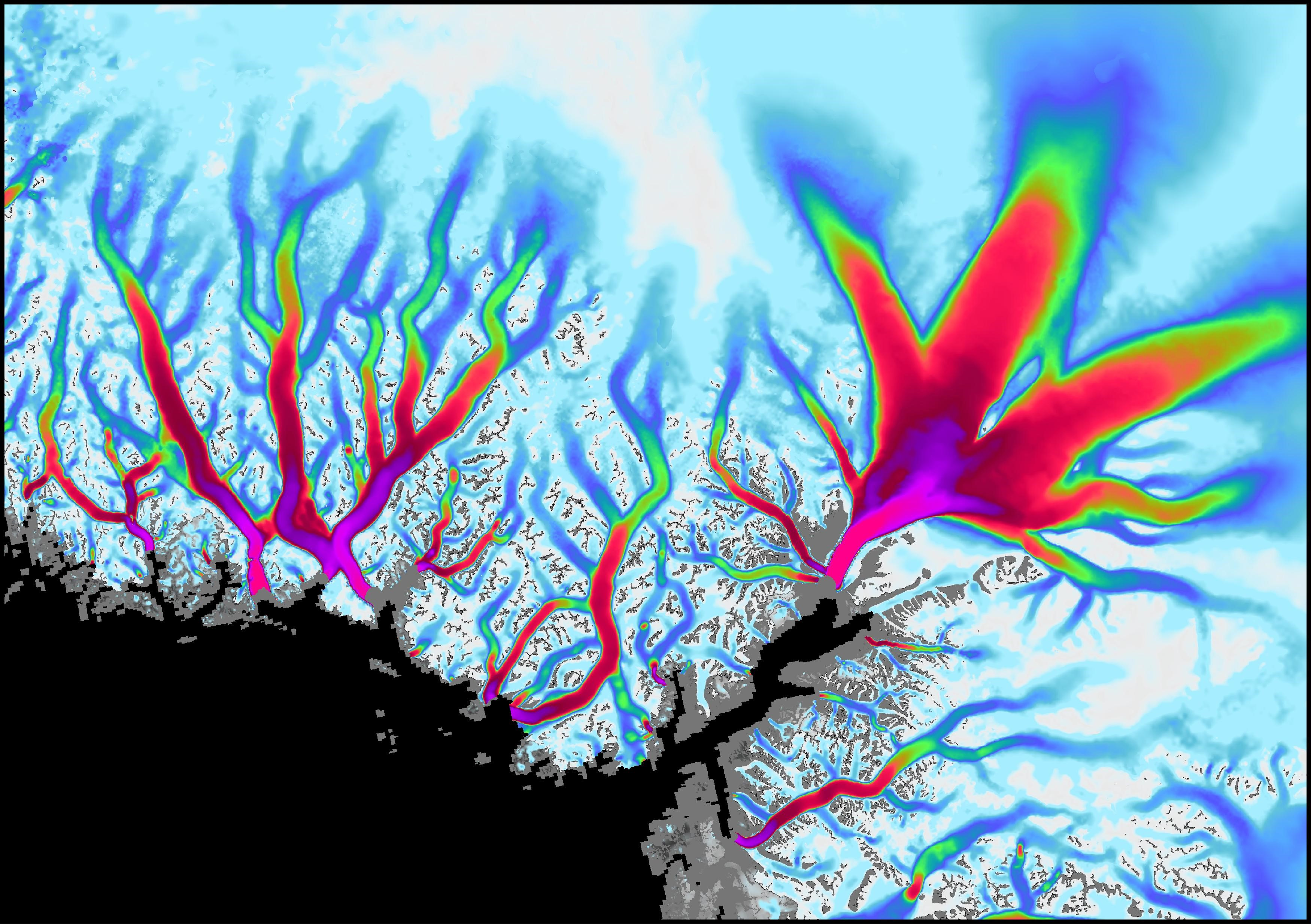 This data visualization shows the flow velocity of glaciers along Greenland's coast.
