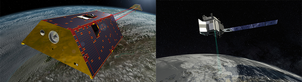Artist's concepts of the GRACE-FO and ICESat-2 satellite missions, GRACE-FO displaying in the left panel and ICESat-2 in the right panel
