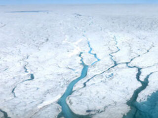 Photo of meltwater rivers on Greenland Ice Sheet