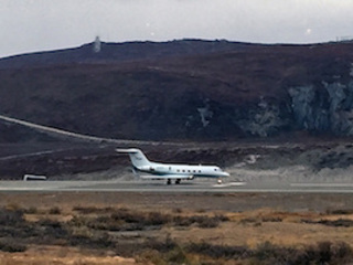 NASA's G-III about to take off from Kangerlussuaq Airport, Greenland, for a day of ocean science research.