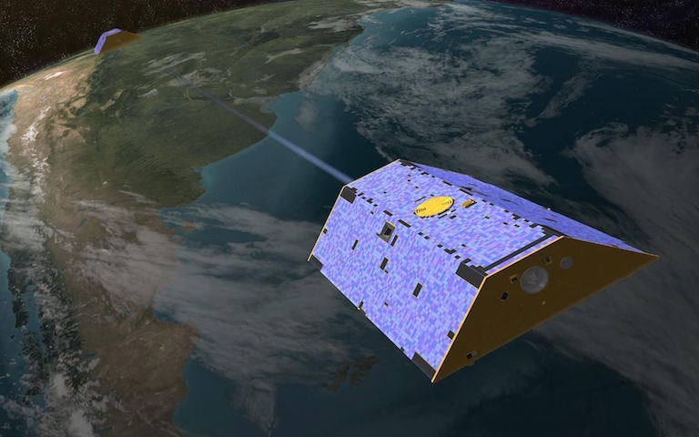 Illustration of the twin Gravity Recovery and Climate Experiment (GRACE) satellites in orbit. Image credit: NASA/JPL-Caltech