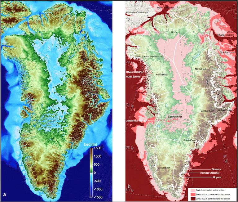 Left: Greenland topography color coded color-coded from 4,900 feet (1,500 meters) below sea level (dark blue) to 4,900 feet above (brown). Right: Regions below sea level connected to the ocean; darker colors are deeper. The thin white line shows the current extent of the ice sheet. Image credit: UCI.