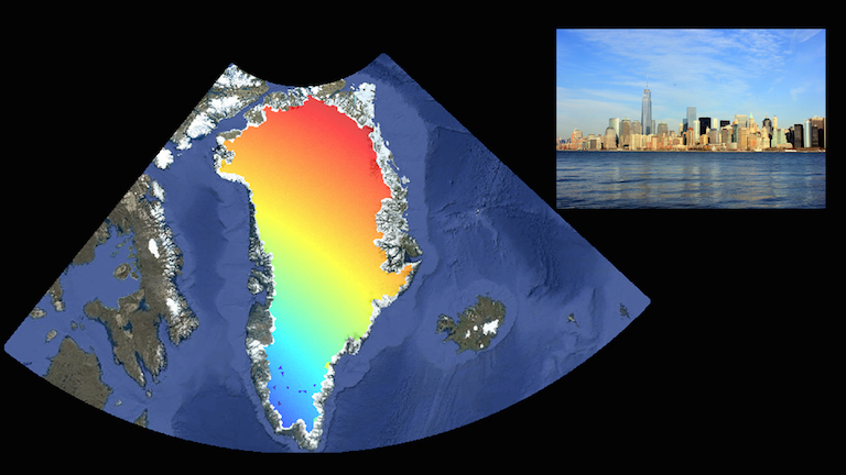 The contribution of melting ice in Greenland to sea level rise in New York City (inset). Red indicates the greatest sea level contribution, blue is the smallest to no contribution. A new NASA tool lets users research the contributions of all regions of global land ice to sea levels in 293 port cities. Data image credit: NASA/JPL-Caltech/Google. Photo credit: Wikimedia Commons