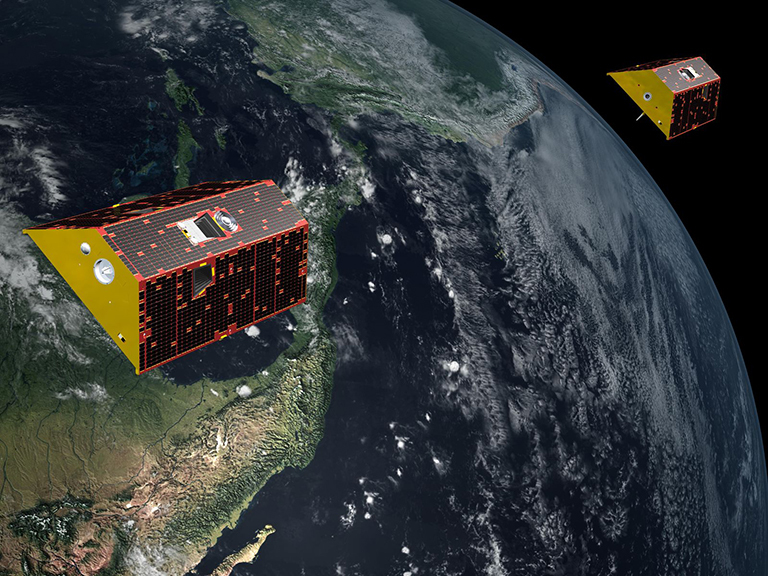 Artist's illustration of the twin spacecraft of the NASA/German Research Centre for Geosciences (GFZ) Gravity Recovery and Climate Experiment Follow-On (GRACE-FO) mission. GRACE-FO will continue tracking the evolution of Earth's water cycle by monitoring changes in the distribution of mass on Earth. Credit: NASA/JPL-Caltech › Full image and caption