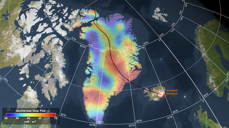 A map shows the path of Greenland, moving northward and passing over a mantle-plume hot-spot over tens of millions of years.