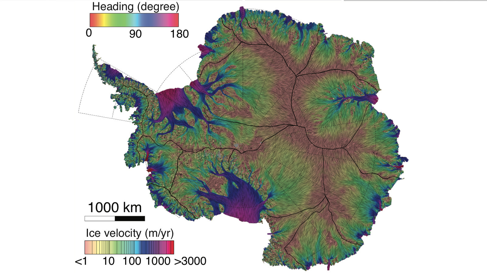 This new NASA/UC Irvine map of ice velocity in Antarctica is 10 times more accurate than any previous map and shows flows over 80 percent of the continent, where older maps showed about 20 percent. Colored lines indicate direction of flow; background colors show speed. Credit: UCI/Jeremie Mouginot › Larger view