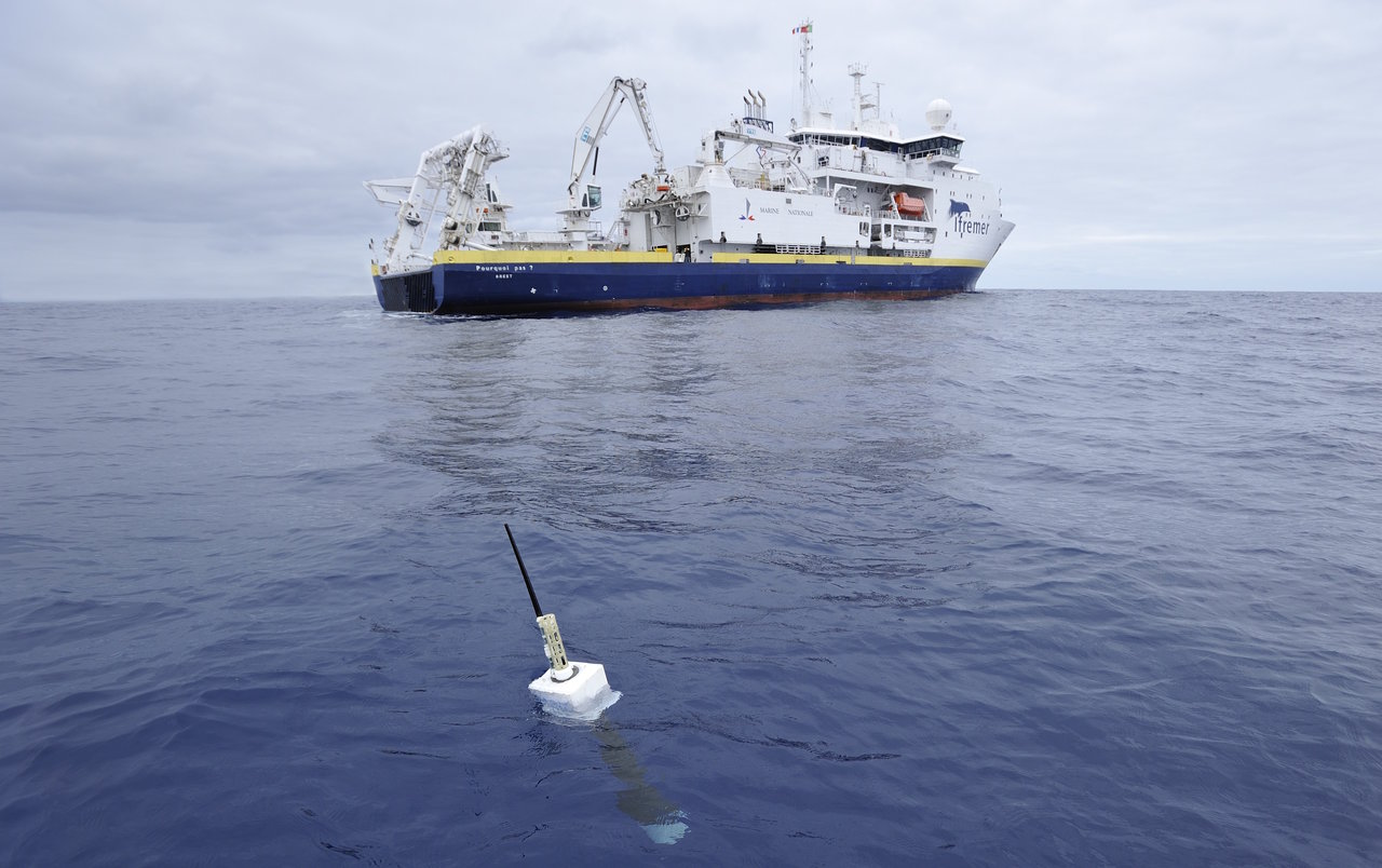 An Argo float, foreground. The new study included direct measurements of ocean temperatures from the global array of 3,500 Argo floats and other ocean sensors. Credit: Argo program, Germany/Ifremer.