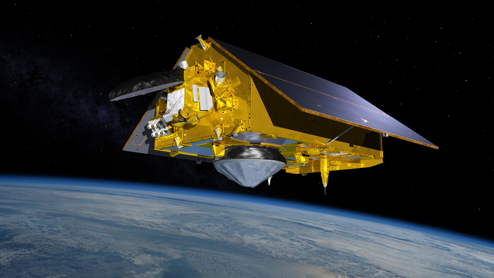 In this illustration, the Sentinel-6 Michael Freilich spacecraft - the world's latest sea-level satellite - orbits Earth with its deployable solar panels extended.