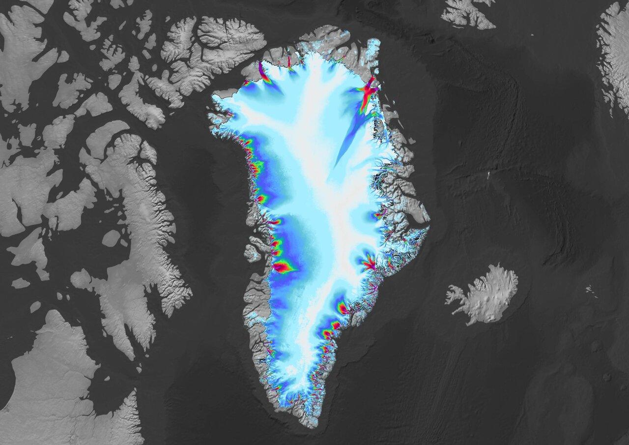 A Groenlândia aparece nesta imagem criada usando dados do projeto ITS_LIVE, hospedado no Jet Propulsion Laboratory da NASA. A coloração ao redor da costa da ilha ártica mostra a velocidade das geleiras fluindo para o oceano. Crédito: NASA / JPL-Caltech / USGS