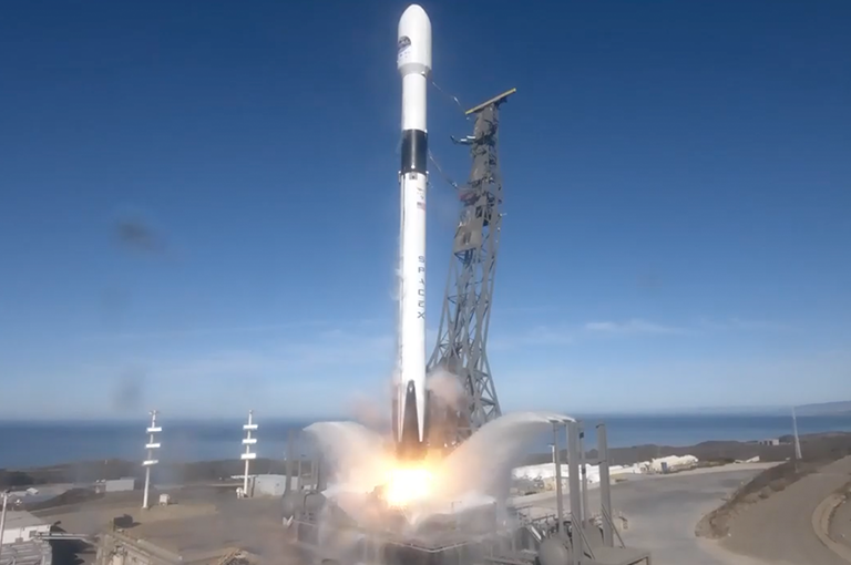 The U.S.-European Sentinel-6 Michael Freilich satellite lifts off aboard a SpaceX Falcon 9 rocket from Vandenberg Air Force Base in central California on Nov. 21, 2020