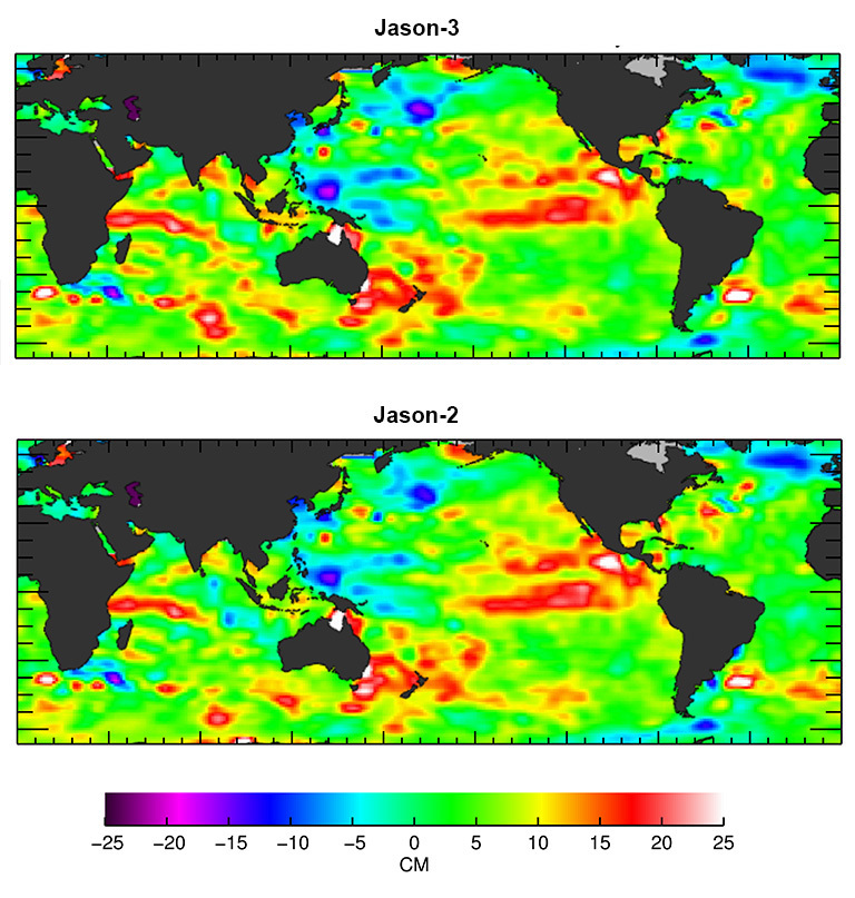 The U.S./European Jason-3 satellite has produced its first map of sea surface height, which corresponds well to data from its predecessor, Jason-2. Higher-than-normal sea levels are red; lower-than-normal sea levels are blue. El Niño is visible as the red blob in the eastern equatorial Pacific. Credit: NASA/JPL Ocean Surface Topography Team.