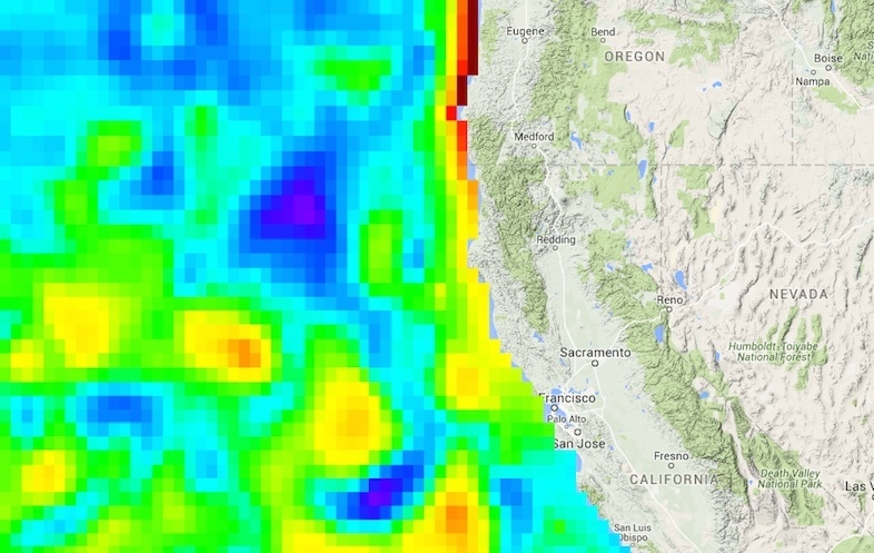 NASA Sea Level Change Portal In Roiling West Coast Region A Calm - Google maps sea level