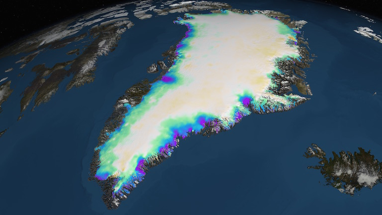 a visualization of data showing changes in greenlands ice sheet from 2003 to 2012 rapidly