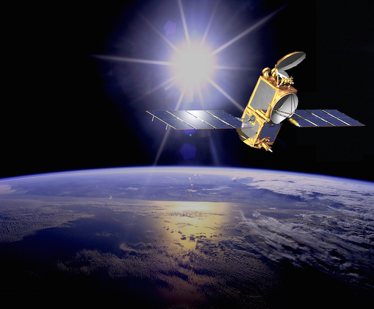 Illustration of the U.S./European Ocean Surface Topography Mission (OSTM)/Jason-2 satellite in orbit. OSTM/Jason-2 will soon take on an additional role to help improve maps of Earth's sea floor. Image credit: NASA-JPL/Caltech